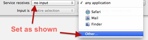 Set service receives and other in Automator